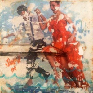 Jump In - encaustic collage