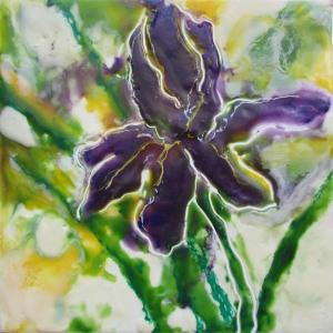 Iris encaustic